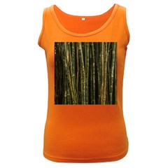 Green And Brown Bamboo Trees Women s Dark Tank Top