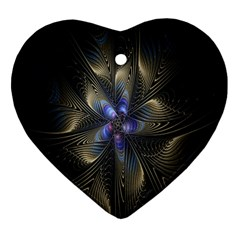 Fractal Blue Abstract Fractal Art Heart Ornament (two Sides) by Nexatart