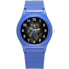 Fractal Blue Abstract Fractal Art Round Plastic Sport Watch (s)