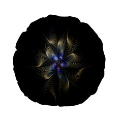 Fractal Blue Abstract Fractal Art Standard 15  Premium Flano Round Cushions