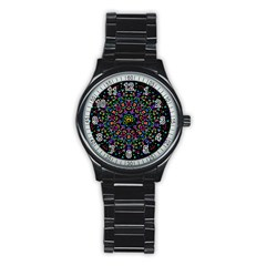 Fractal Texture Stainless Steel Round Watch