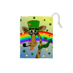 Irish Giraffe Drawstring Pouches (small)  by Valentinaart