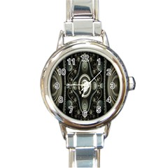 Fractal Beige Blue Abstract Round Italian Charm Watch