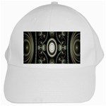 Fractal Beige Blue Abstract White Cap Front