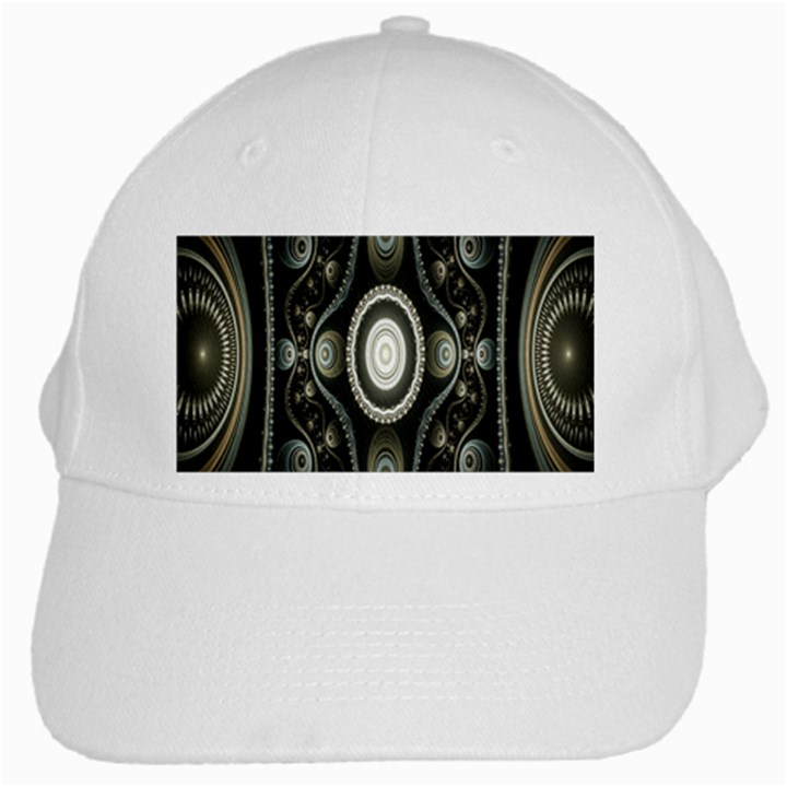 Fractal Beige Blue Abstract White Cap