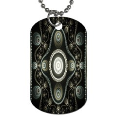 Fractal Beige Blue Abstract Dog Tag (one Side)