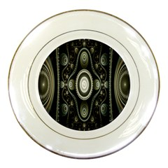 Fractal Beige Blue Abstract Porcelain Plates