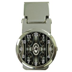 Fractal Beige Blue Abstract Money Clip Watches by Nexatart