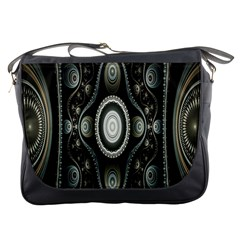 Fractal Beige Blue Abstract Messenger Bags