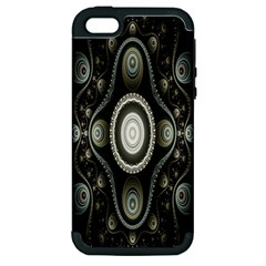 Fractal Beige Blue Abstract Apple Iphone 5 Hardshell Case (pc+silicone)