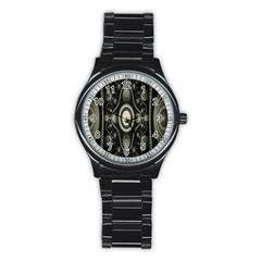 Fractal Beige Blue Abstract Stainless Steel Round Watch