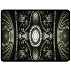 Fractal Beige Blue Abstract Double Sided Fleece Blanket (large)  by Nexatart