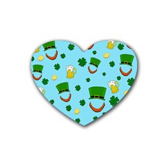 St  Patrick s Day Pattern Rubber Coaster (heart)  by Valentinaart