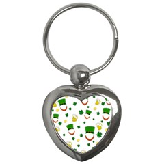 St  Patrick s Day Pattern Key Chains (heart)  by Valentinaart