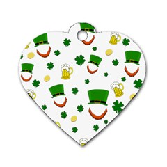 St  Patrick s Day Pattern Dog Tag Heart (two Sides) by Valentinaart