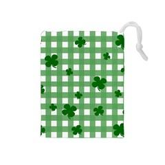 Clover Pattern Drawstring Pouches (medium)  by Valentinaart