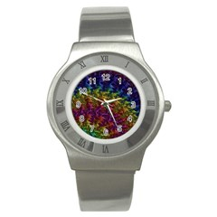 Fractal Art Design Colorful Stainless Steel Watch by Nexatart