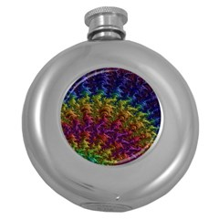 Fractal Art Design Colorful Round Hip Flask (5 Oz)