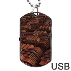 Fractal 3d Render Futuristic Dog Tag Usb Flash (two Sides) by Nexatart