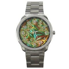Fractal Artwork Pattern Digital Sport Metal Watch