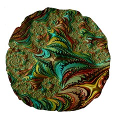 Fractal Artwork Pattern Digital Large 18  Premium Flano Round Cushions