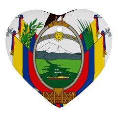 Coat Of Arms Of Ecuador Heart Ornament (two Sides) by abbeyz71
