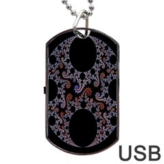 Fractal Complexity Geometric Dog Tag Usb Flash (one Side) by Nexatart