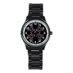 Fractal Complexity Geometric Stainless Steel Round Watch