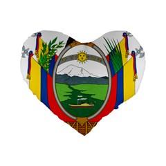 Coat Of Arms Of Ecuador Standard 16  Premium Heart Shape Cushions by abbeyz71