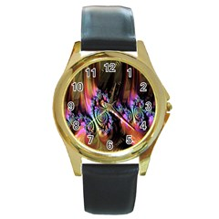 Fractal Colorful Background Round Gold Metal Watch by Nexatart