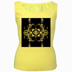Fractal Fantasy Blue Beauty Women s Yellow Tank Top by Nexatart