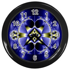 Fractal Fantasy Blue Beauty Wall Clocks (black) by Nexatart