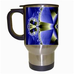 Fractal Fantasy Blue Beauty Travel Mugs (white)