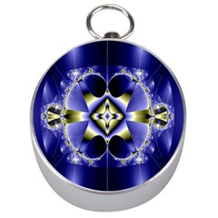 Fractal Fantasy Blue Beauty Silver Compasses