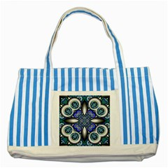 Fractal Cathedral Pattern Mosaic Striped Blue Tote Bag by Nexatart