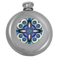 Fractal Cathedral Pattern Mosaic Round Hip Flask (5 Oz)