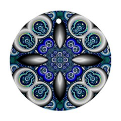 Fractal Cathedral Pattern Mosaic Round Ornament (two Sides)