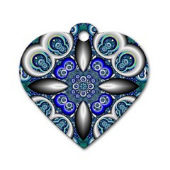 Fractal Cathedral Pattern Mosaic Dog Tag Heart (two Sides)