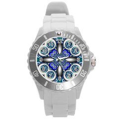 Fractal Cathedral Pattern Mosaic Round Plastic Sport Watch (l) by Nexatart