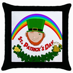 St  Patrick Throw Pillow Case (black) by Valentinaart