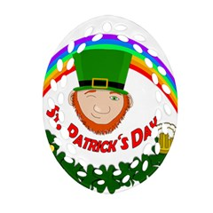 St  Patrick Oval Filigree Ornament (two Sides) by Valentinaart