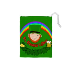 St  Patrick s Day Drawstring Pouches (small)  by Valentinaart