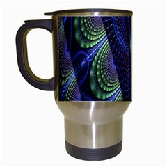 Fractal Blue Lines Colorful Travel Mugs (white) by Nexatart