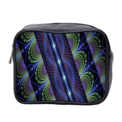 Fractal Blue Lines Colorful Mini Toiletries Bag 2 Side