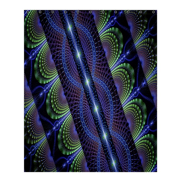 Fractal Blue Lines Colorful Shower Curtain 60  x 72  (Medium)