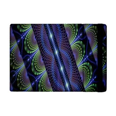 Fractal Blue Lines Colorful Apple iPad Mini Flip Case by Nexatart