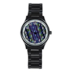Fractal Blue Lines Colorful Stainless Steel Round Watch