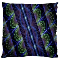 Fractal Blue Lines Colorful Standard Flano Cushion Case (one Side) by Nexatart