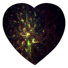 Fractal Flame Light Energy Jigsaw Puzzle (heart) by Nexatart