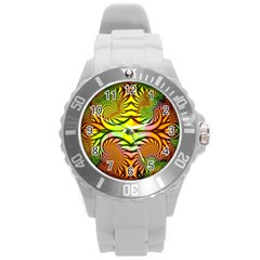 Fractals Ball About Abstract Round Plastic Sport Watch (l) by Nexatart